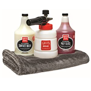 BOSS BF302 Foam Cannon kit. Includes a foaming wash, foaming wax, and an extra-large pfm dry towel