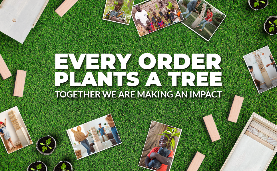 Every Order Plants A Tree. Giant Tower Jengga Game with Box Straightener, Container, and Storage.