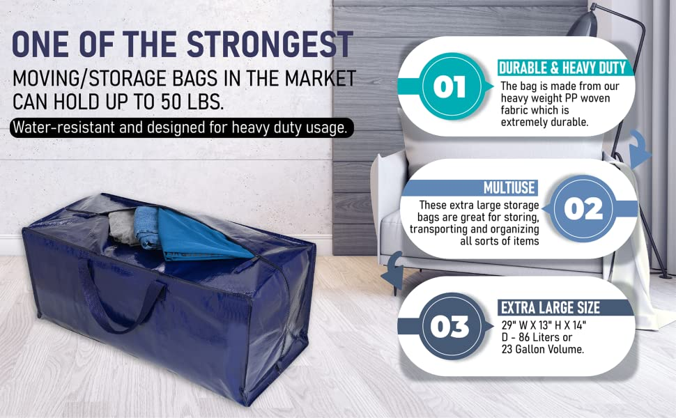 VENO Moving bags, totes for storage, storage totes are durable, heavy duty can hold 50 lbs