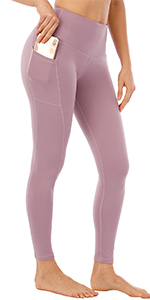 Pink yoga pants with pockets
