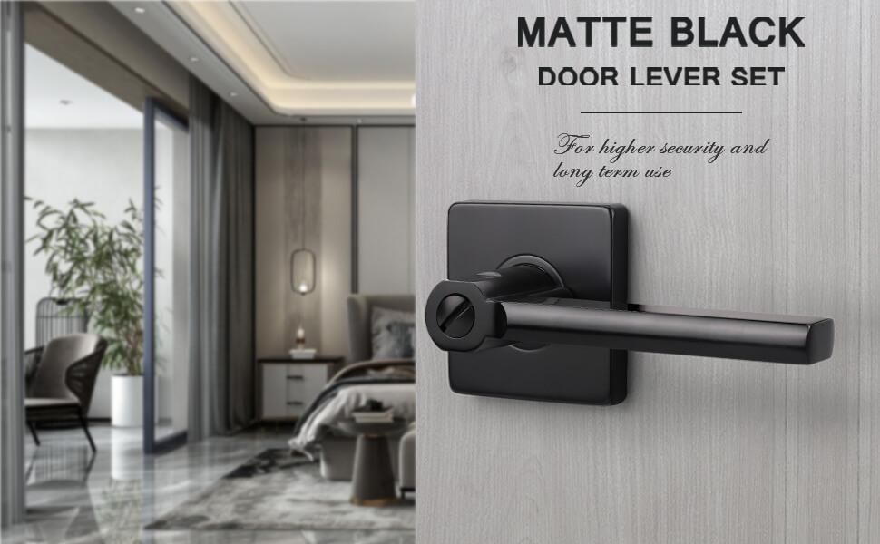 Privacy Door Handle Matte Black for Bedroom Bathroom