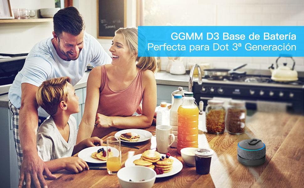 Base de bateria GGMM D3 para Echo Dot 3ª geração, Preto (Não inclui Alexa Echo Dot 3)