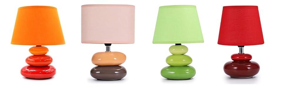 « Lina Lampe-Orange », « Lea-Lampe Peach », « Lina Lampe Green », « Julia Lampe-Red ».