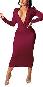 V Neck Long Sleeve Twist Knot Bodycon Midi Dress