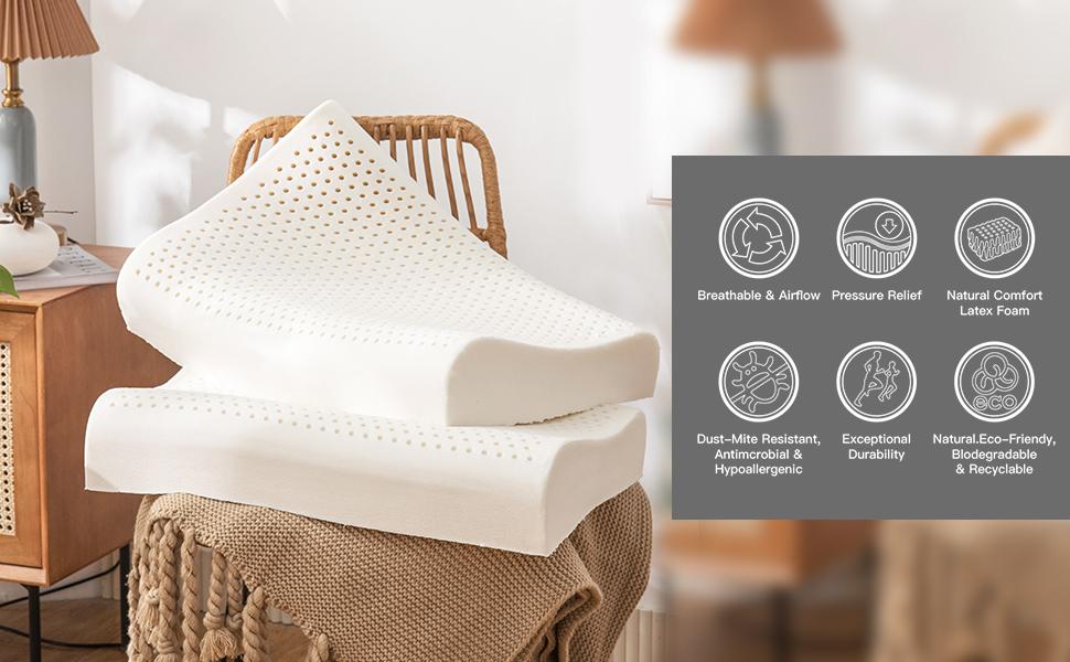 Latex Massage Pillow Bed Pillows Cervical Pillow Contour Pillow Standard Size Soft Ergonomic Pillow