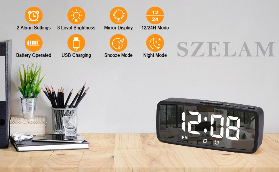 alarm clock for bedroom black