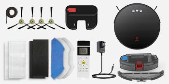 U180 robot vacuum,charging base,power adapter,500ml dust bin,160ml water tank,remote control