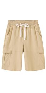 Womens Casual Cargo Cotton Shorts Bermuda Elastic Waist Drawstring Plus Size Shorts Pocket