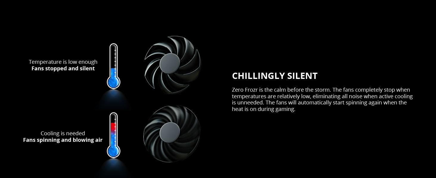 zero frozr fan stop idle passive heatsink cooling silent