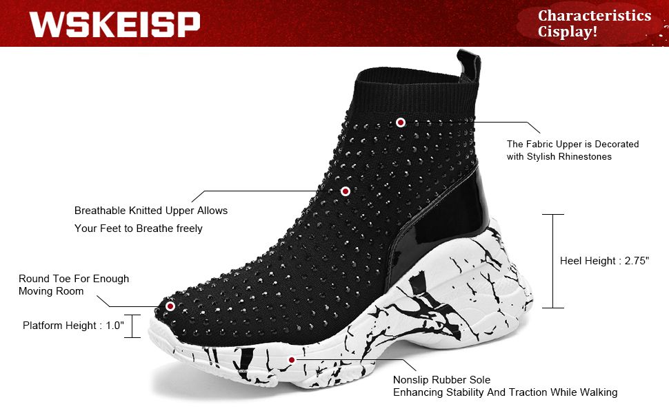 Platform Ankle Boots Slip On Stretchy Socks Chunky Sneakers Studded Rhinestone  Booties
