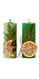 Green beeswax candles set