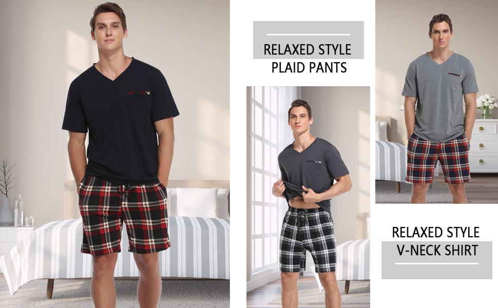 Vlazom Men's Pajamas Set Short Sleeve Soft Cotton Pj's Top