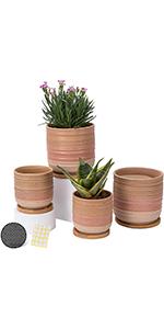 5.25+4 inch ceramic plant pots set of 4