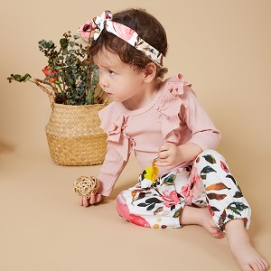 Long-sleeved Floral Pants (Pink/Yellow)