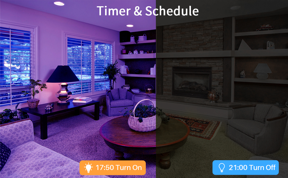 Timer & Schedule allow you to turn the lights on/off automatically