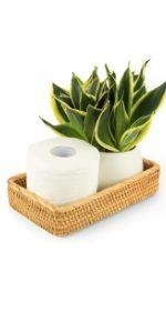 Rattan toilet tank basket guest towel holder woven basket small baskets for organizing decorative