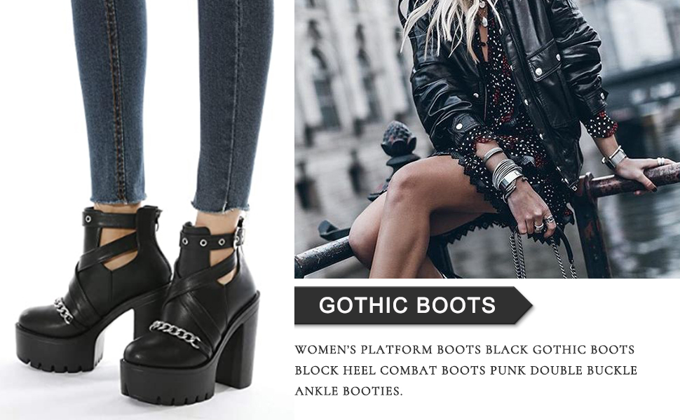 Women's Sexy Chunky Block High Heeled Platform Boots Ladies Punk Club Dress Combat Boots
