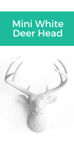 mini white deer head, faux taxidermy, faux deer head, faux white deer, fake deer head, farmhouse