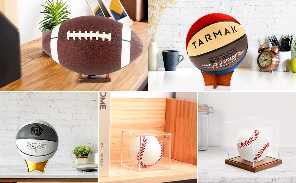 Autographed memorabilia football/ basketball/ soccer/ baseball/ softball display stands