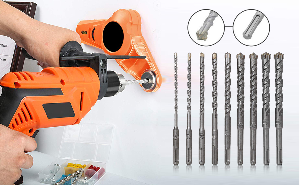 SDS Plus Masonry Drill Bit Set of 9, Carbide Tip Rotary Hammer Drill Bits