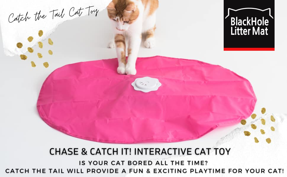 cat playing with catch the tail cat toy, grabbing pink cover