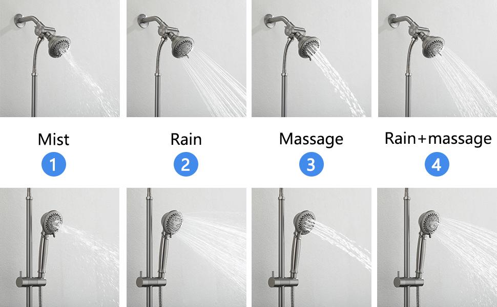 5 settings dual shower head