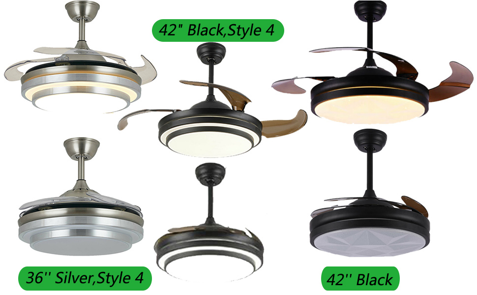 Various styles of fan lights