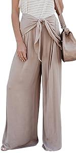Womens Summer Boho Tie Waist Pants Loose Flowy Wide Leg Pants Beach Pants