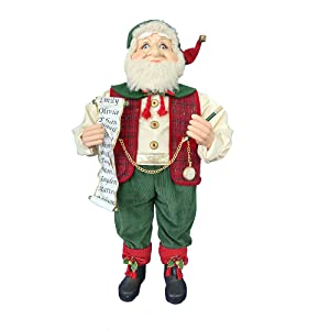36-Inch Kringle Klaus Red and Green Elf with List
