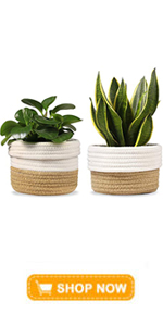 """2-Pack 6.5"""" Woven Plant Basket Indoor Up to 6amp;amp;#34; Pot Cotton Jute Rope Planter Modern Storage"""