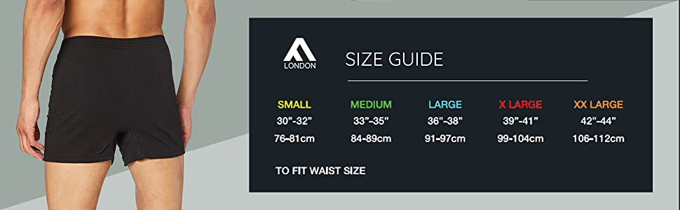 Loose fit boxer size guide