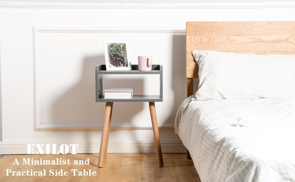 Wooden Nightstand Mid-Century Modern Bedside Table