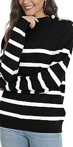 Women's Turtleneck Striped Knit Sweater