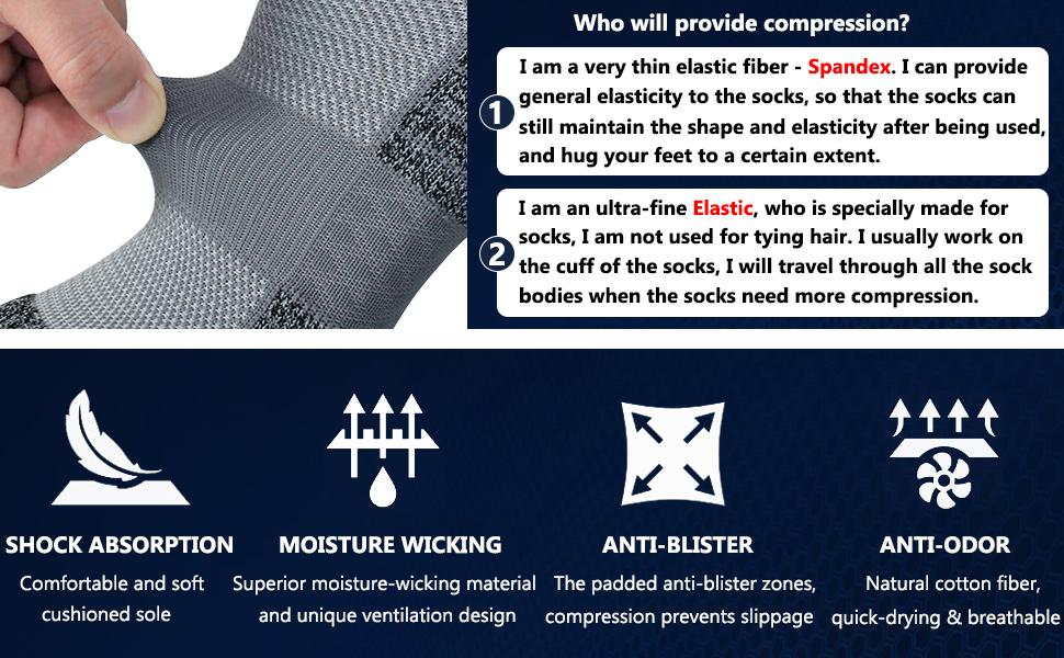 Comfortable soft cushioned sole moisture-wicking padded anti-blister zones quick-drying breathable