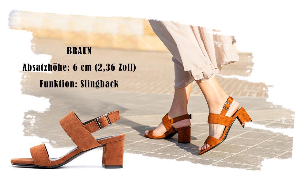 dunkelbraun braun Sandalen Damen mit Absatz Sandaletten braun