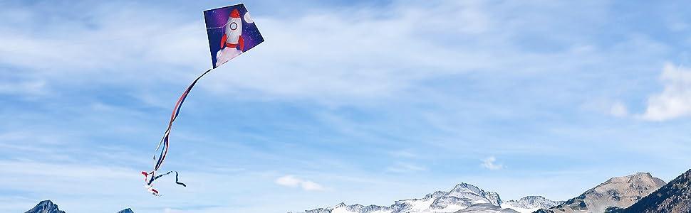 rocket ship kite, diamond kite, easy kite for kids, in the breeze kite, rocket ship, kite for kids