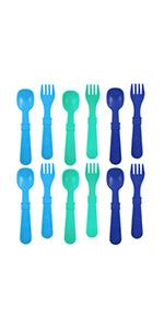 sky blue aqua nay spoon and fork utensil set