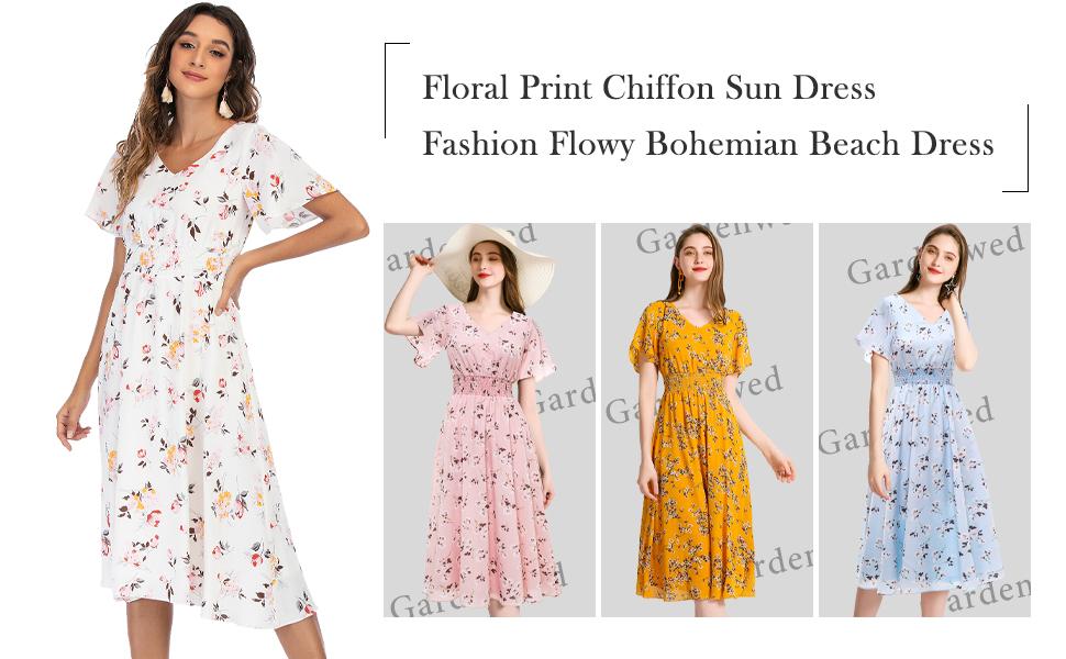 wedding dress vintage cocktail midi length women summer dresses plus size retro boho floral sundress