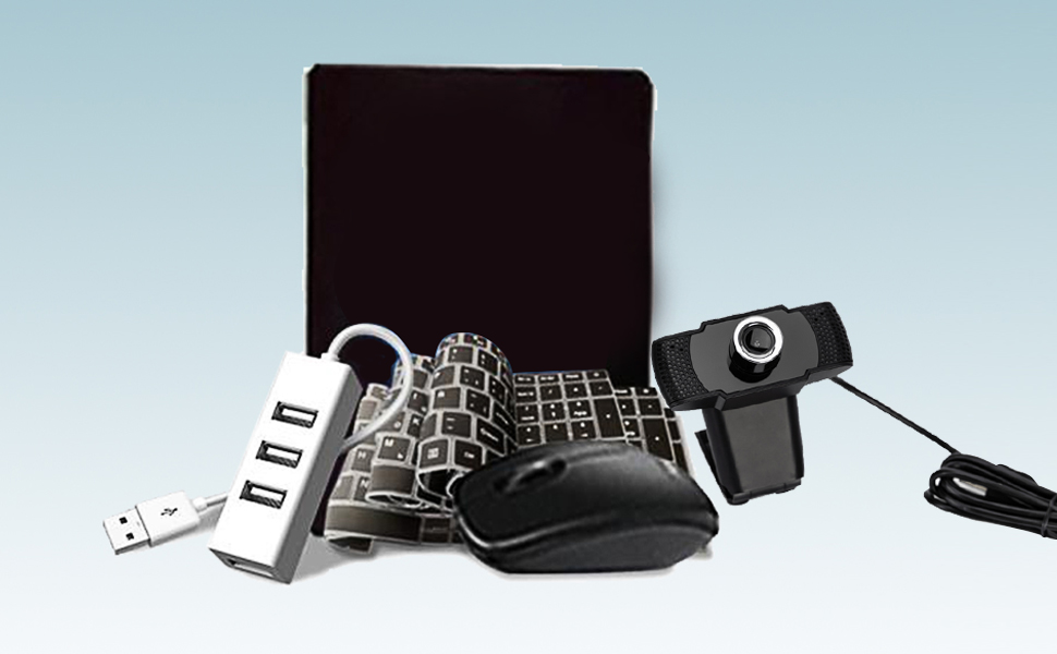 Come with Webcam, Mouse, Mouse Pad, Keyboard Cover and Hub