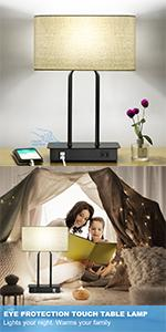 Dimmable Table Lamps with Cream Shade