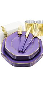 purple plastic plates