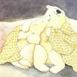 Illustration of two adult polar bears snuggling under a night sky with a yellow checkered blanket.