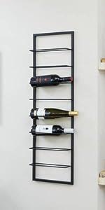 wijnrek, metaal, zwart, glazenrek, 5-laags, 4-laags, industrieel, minimalistisch