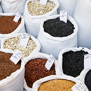 A photograph of a spice market from Bavel Cookbook.
