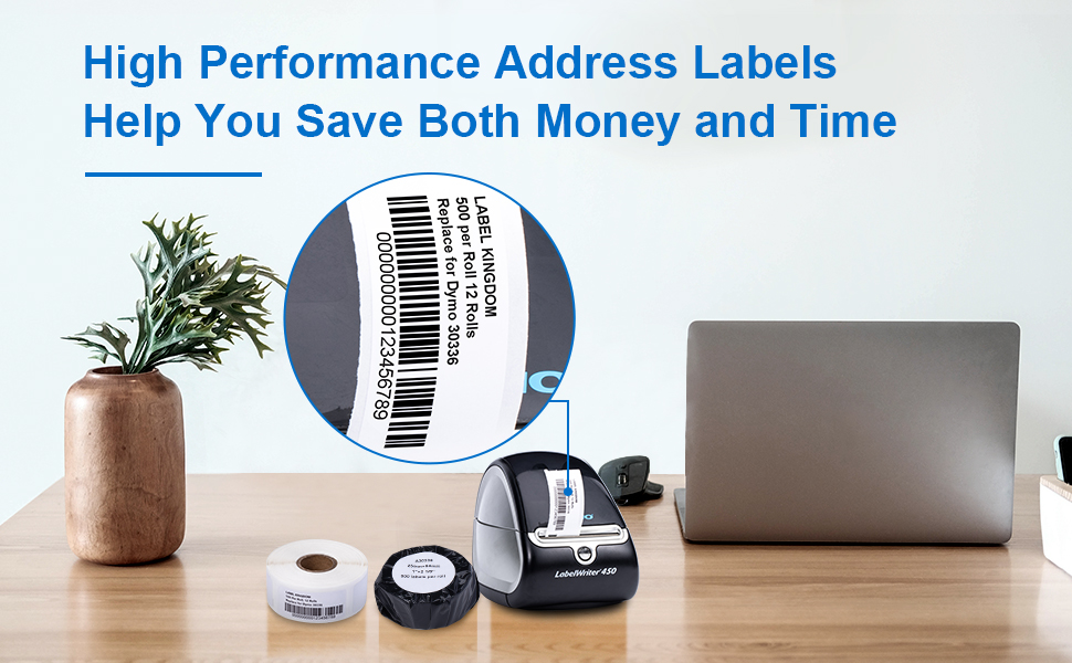 """Replace for Dymo 30336 1"""" x 2-1/8"""" Thermal Labels, 12 Rolls, 500 Labels/Roll"""