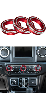 Bling Crystal Audio Air Conditioning Knob Ring Trim for Jeep Wrangler JL JLU JT