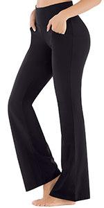 bootcut yoga pants for women with pockets tummy control high waisted black flare pants