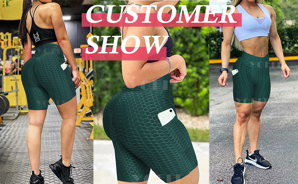 Women TIK TOK Leggings Shorts Butt Lift Scrunch Textured Leggings Workout Shorts