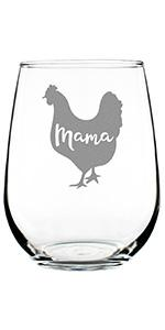 Design of a chicken with Text that says Mama inside chicken (mama hen).
