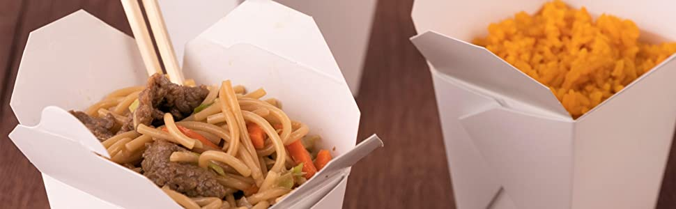 Paper Take Out Food Containers - Microwaveable White Chinese Takeout Boxes Disposable Leak Grease